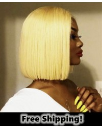 BOB06-Brazilian virgin 613 bob glueless lace front wig