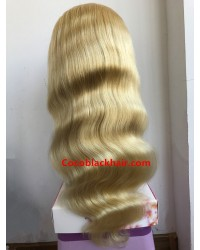 Dino-Brazilian virgin body wave #613 blonde pre plucked full lace wig