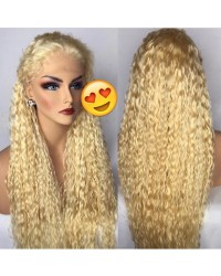 Dino-Brazilian virgin wet wave #613 blonde pre plucked full lace wig