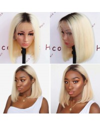 BOB08-Brazilian virgin 1b/ 613 bob glueless lace front wig