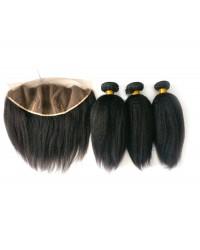 lace frontal with 3 bundles Italian yaki Brazilian virgin