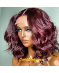 Angela 32-99j colored middle part bob style Brazilian virgin 5x5 HD lace closure wig