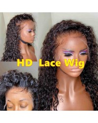 Laila-HD Lace 13x6 Wig Deep Curly Pre plucked Brazilian human hair 150% density glueless lace front wig