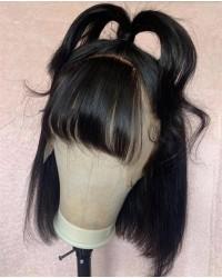 Lulu-bangs bob 13x6 wig Brazilian virgin pre plucked 150% density