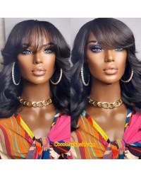 Emily56-360 wig with bangs 100% Brazilian virgin human hair