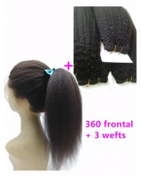 360 lace frontal with 3 wefts Brazilian virgin Italian yaki