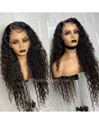 Nikki-Fake scalp lace front 13x6 wig Beachy Wave Brazilian virgin human hair Pre plucked hairline