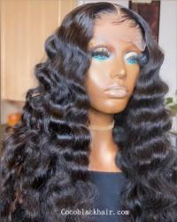 Angela 15-5x5 HD lace closure wig beachy wave 10A grade Brazilian virgin human hair 150% density