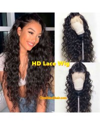 Aisha-HD Lace 13x6 Wig Beachy Wave Brazilian human hair glueless lace front wig Pre plucked