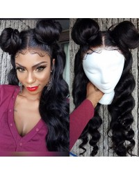 Emily24-Brazilian virgin big wave 360 lace frontal wig