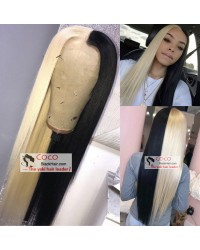 Nicki-Brazilian virgin pre plucked blonde black full lace wig