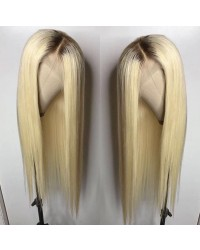 Betty-Brazilian virgin pre plucked ombre blonde straight full lace wig