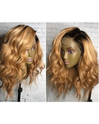 Lacy- Brazilian virgin pre plucked Ombre wave full lace wig