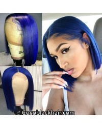 BOB14-Brazilian virgin blue color bob glueless lace front wig