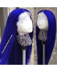 Tyler-Brazilian virgin blue color silky straight blue pre plucked glueless lace front wig