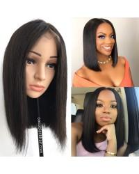 BOB02-Brazilian straight blunt bob lace front wig