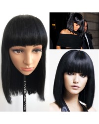 BOB03-Indian virgin blunt cut bob machine made wig with bangs