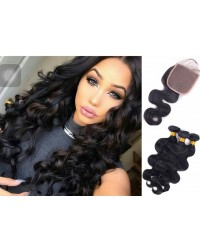 silk base closure with 3 bundles body wave Brazilian virgin