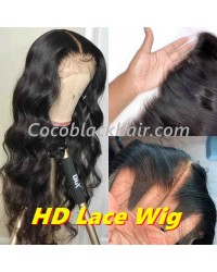 "Clover-HD Lace Wig Body Wave Pre plucked Brazilian 150% density glueless 6"" lace front wig"