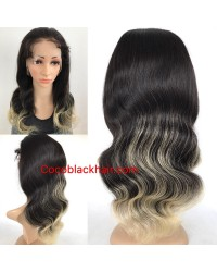 Emily24-Brazilian virgin ombre body wave 360 lace frontal wig