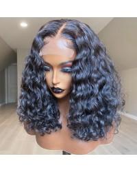 【50% Off】Angela 09-5x5 HD lace closure wig bomb deep wave 10A grade Brazilian virgin human hair