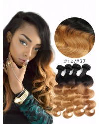 4 bundles Brazilian Virgin Body wave 1B/27 Ombre Hair Wefts