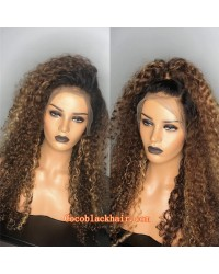 Emily40-ombre brown Curly Pre plucked Brazilian virgin human hair 360 wig