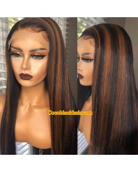 Angela 29-Brown highlights silk straight human hair 5x5 HD lace closure wig