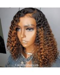 Emily82-brown ombre color tight wave bob 360 wig Pre plucked Brazilian virgin human hair