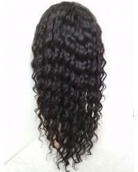 Karol-Burmese virgin hair 10mm curly silk top full lace wig bleached knots