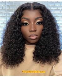 Angela 19-Curly Bob 5x5 HD lace closure wig Brazilian virgin human hair Pre plucked hairline