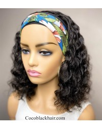 Rudy 07-Headband wigs curly bob Brazilian virgin human hair 150% density