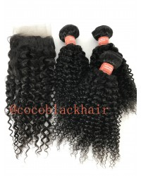 Brazilian virgin curly lace frontal with 3 bundles