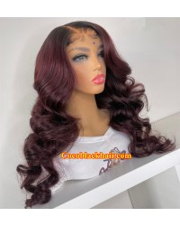 Angela 26-Deep burgundy with natural color roots 5x5 HD lace closure wig 10A grade Brazilian virgin human hair Pre plucked hairline