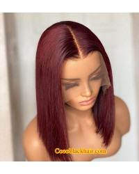 Rich-Brazilian virgin human hair Dark red Bob lace front wig pre plucked hairline