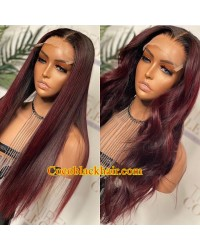 Angela 24-Dark red ombre color 5x5 HD lace closure wig Pre plucked hairline 10A grade Brazilian virgin human hair