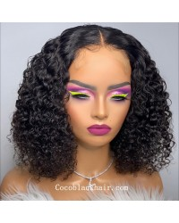 Angela 17-5x5 HD lace closure wig middle parting curly bob 10A grade Brazilian virgin human hair