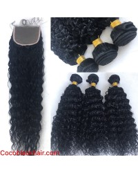 Brazilian virgin deep curly silk base closure with 3 bundles