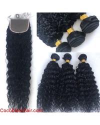 Brazilian virgin deep curly silk base closure with 3 bundles