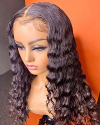 Angela 06-5x5 HD lace closure wig Deep Wave 10A grade Brazilian virgin human hair 150% density