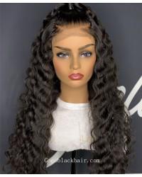 Angela 06-5x5 HD lace closure wig Deep Wave 10A grade Brazilian virgin human hair 150% density