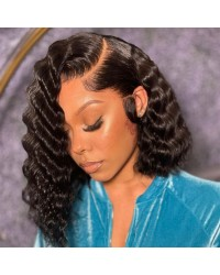 Adia-Deep wave bob 13x6 glueless lace front wig Brazilian virgin human hair Pre plucked hairline side parting