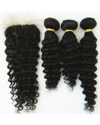 silk base closure with 3 bundles deep wave wefts Brazilian virgin