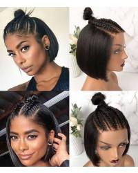 Ebony-Fake scalp 13x6 wig blunt cut BOB Pre-plucked 150% density