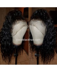 Emily10-Brazilian virgin 10mm curly 360 lace frontal wig