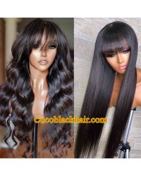 Angela 21-Silk straight bang wig loose wave bang wig 5x5 HD skin melt lace closure wig Brazilian virgin human hair