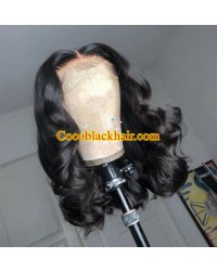 Angela 10-5x5 HD lace closure wig middle parting wave bob 10A grade Brazilian virgin human hair