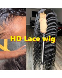 "Tilly-HD Lace Wig Deep Wave Pre plucked Brazilian 150% density glueless 6"" lace front wig"
