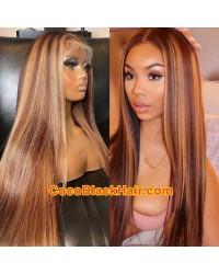 Pamela- Blonde highlights HD lace front wig Brazilian virgin human hair Pre plucked