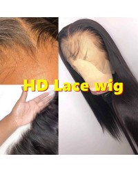 "Zora-10A HD Lace Wig Silky Straight Pre plucked Brazilian 150% density glueless 6"" lace front wig"